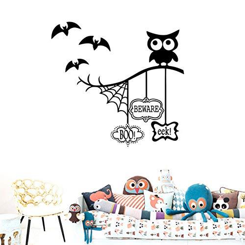 Wandaufkleber Eule Halloween Thema Tapete Spinnennetz Fledermaus Dekoration Wohnzimmer Hintergrund Wandbild Kunst Aufkleber PVC Aufkleber 67 * 57 cm