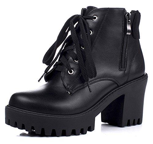 a831152c80d2 YE Plateau Chunky High Heels PU Leder Schnürstiefeletten mit Blockabsatz  und Reißverschluss Short Ankle Boots Herbst