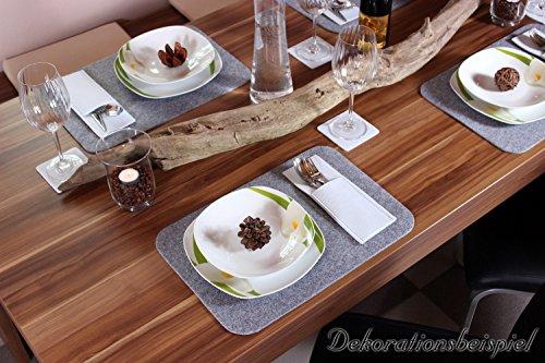 Edle Filz Platzmatten für 4 Personen in dunkelgrau (+ weitere Farben). XXL Tischset ca. 30x45cm groß und waschbar. Moderne Designer Filz Tischmatten bzw. Tischunterlagen als tolles Platzset für Ihr Esszimmer.