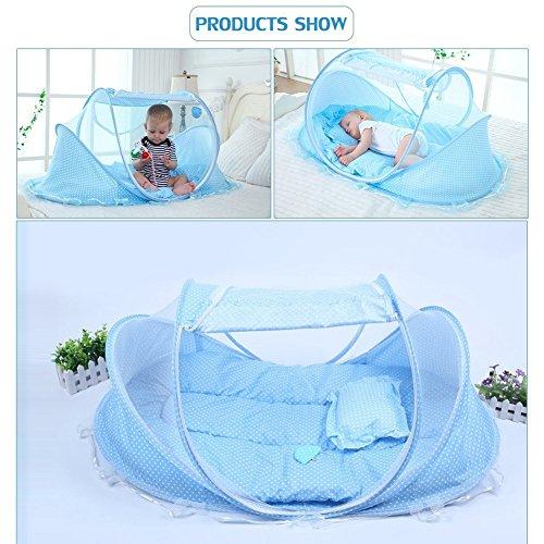Preisvergleich Produktbild SINOTOP Baby Mosquito Ded tragbar für Reise, Babybett Falten Baby Krippe Moskitonetz Tragbare Baby Kinderbetten für 0-18 Monat Baby (Blau)