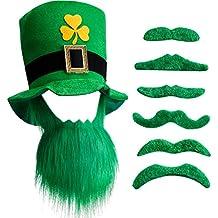 Chuangdi Sombrero y Barba de Duende de Día de San Patricio con 6 Barbas  Verdes ( c8301ba9807
