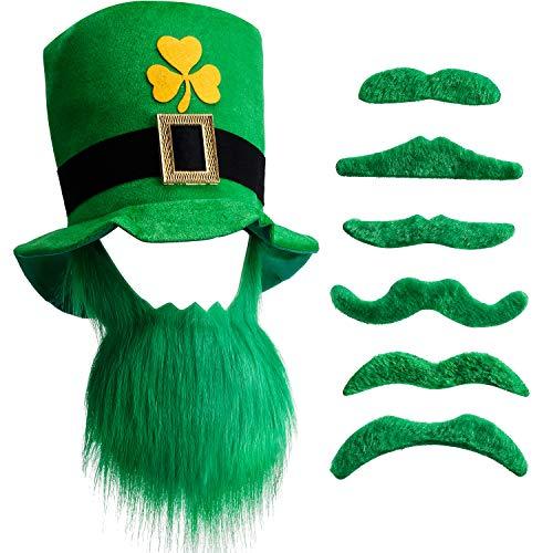 Chuangdi St. Patricks Day Kobold Zylinder und Bart mit 6 Grünen Schnurrbärten (1 Set)