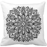 Manta almohadas para sofá hogar decorativo flor mandala blanco y negro funda de almohada 45x 45cm cuadrado Accent funda de almohada de lona para sofá y sofá
