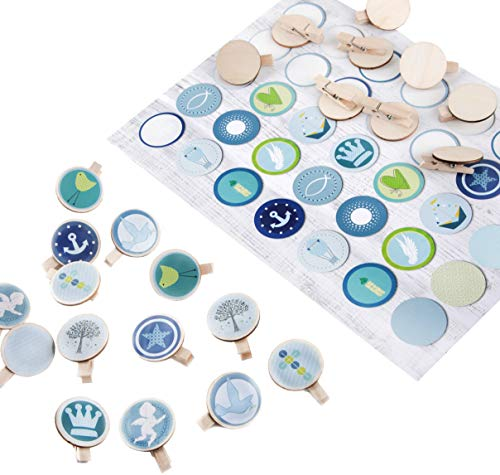 Logbuch-Verlag Set 35 Sticker blau grün mit christlichen Symbolen + 36 Holzklammern 3,2 cm - Tischdeko Geschenk Deko Taufe Kommunion Geburt