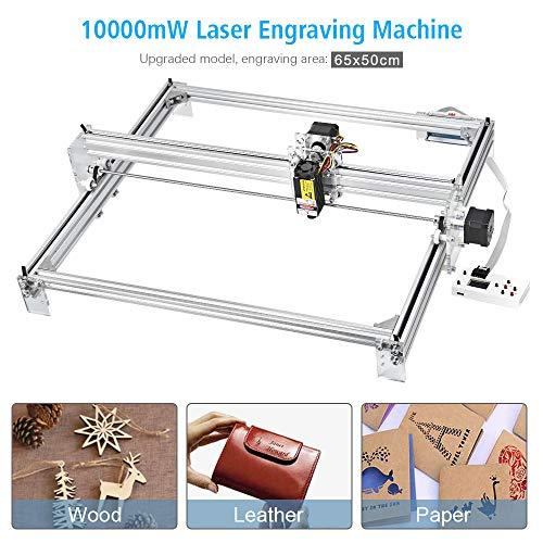 TOPQSC Laserengraver-Graviermaschine, CNC-Fräser-Holzschnitzerei-Gravier-Schneidemaschine, DIY-Drucker-Logo-Bild-Markierung, 2-Achsen-Tischdrucker für Leder-Holz-Plastik, 65x50cm, 10000mW