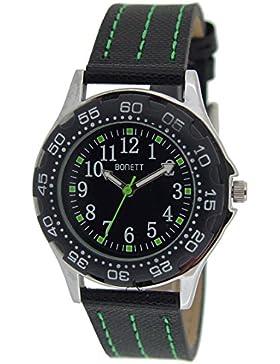 Bonett Jungen - Armbanduhr Analog Quarz Leder Schwarz 1425G
