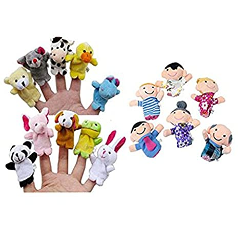 Fulltime(TM) 16PC Story Finger Puppets 10 Animals 6 People Family Members Educational Toy
