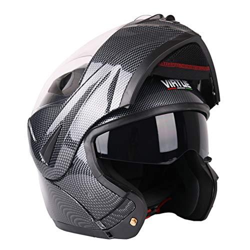 Casco moto moto doppio in fibra di carbonio bluetooth a doppia lente Mezza faccia antifogging Casco moto in fibra sintetica per tutte le stagioni Motocross nero 56-62CM