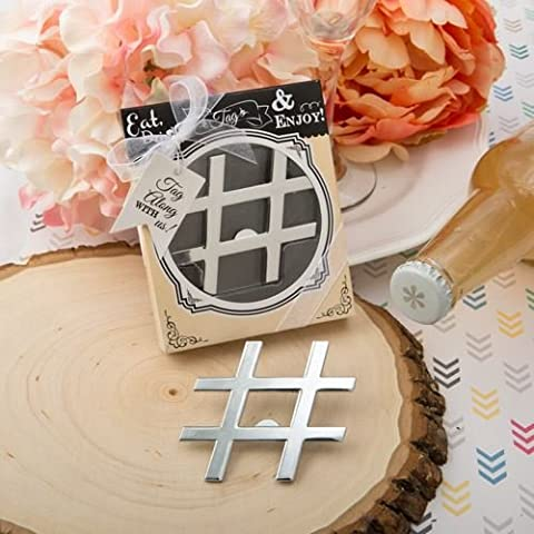 Set of 6 Hashtag Love' Collection Chrome Finish Silver Metal Bottle Opener Favours - (2 Pack) {638054042310}