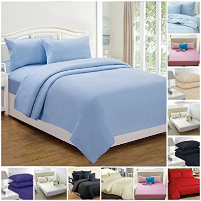 Highliving ® Flat sheets Percale Plain Dyed Poly Cotton Single Double King size