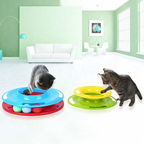 Fenghong Kunststoff Katzenspielzeug, Pet Cat Plasitc Spielzeug Tower Amusement Ball DREI Ebenen Bunte Plattenspieler (Ebene Plattenspieler)