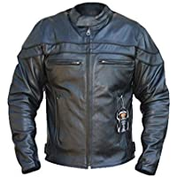 Bikers Gear ' The Sturgis ' Crusier CE 1621-1 PU Removable Armour CowHide Leather Motorcycle Jacket UK 46 EU 56 3XL