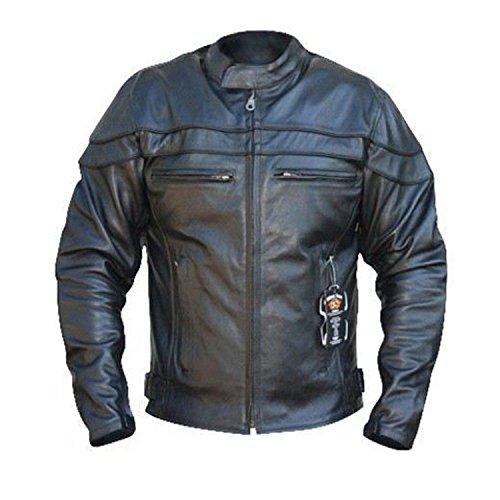 STURGIS (Monza Naked Rindsleder CE und belüftet Motorrad Jacke schwarz schwarz XXXX-Large