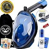 Fitcro Schnorchel Tauchermaske für volle Gesichtsabdeckung   Schnorchelausrüstung mit Leichter Atem- und Dicht-Technologie   GoPro Halterung, Mikrofasertuch, Anti-Beschlag-Spray, Dry Bag & 2 E-Books -