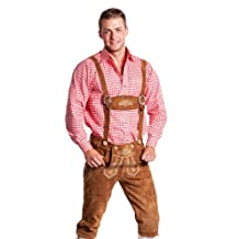 Tradicional pantalón bávaro para el Oktoberfest para hombres - Lederhosen en largo o corto con tirantes