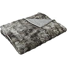 AmazonBasics - Manta de piel sintética, 150 x 200 cm, color gris