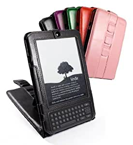 "Tuff-Luv ""Veggie"" Faux Leather Case Cover and Stand for 6-inch Amazon Kindle 3/Global Wireless - Black"
