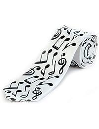 Blacksmith Black Musical Notes Design Tie - White tie for Men - Regular White Tie for Men