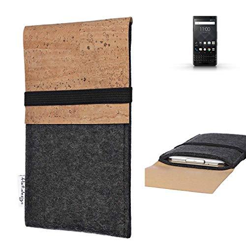 flat.design Handy Hülle SAGRES für BlackBerry KEYone Black Edition Made in Germany Handytasche Filz Tasche Schutz Case fair Kork