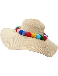 aff20d6dc84 Roffatide Fluffy Pom Pom Ball Decorated Straw Sun Hat Beach Cap Wide Brim 4  Colors