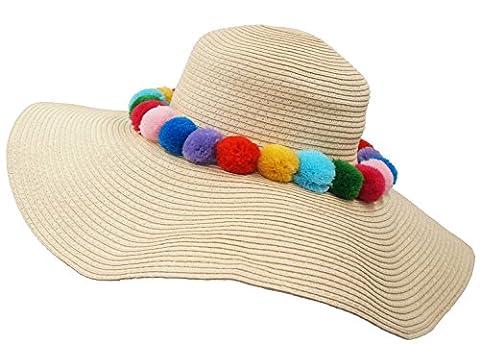 Roffatide UPF 50+ Bunte Plüsch Ball Stroh Hut Großer Krempe Sommerhüte Für Frauen Aufrollen Schlaff Strandhut Kappe Beige