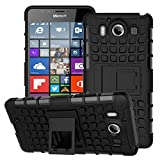 Nokia Lumia 950 Hülle, JKase Diablo Hybrid Umrahmung Harte Case Hülle TPU Innencase für Nokia Lumia 950 (Schwarz)