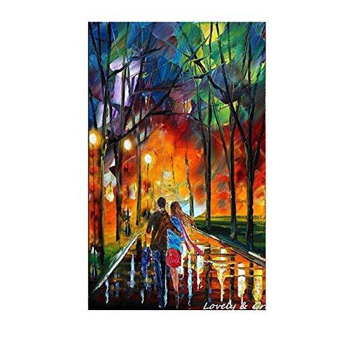 RALCAN Handgemalte Moderne Bunte Baum Palette Messer Ölgemälde Paare Spaziergang Im Wald Wandkunstausgangsdekoration-100X180 cm (40X72 Zoll)