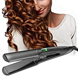 Hair Straighteners, LONGKO Professional 4CM Ceramic Tourmaline Wide Plate Hair Straightening Flat Iron, 2 in 1 Straightener and Curler with Digital Display, Adjustable Temperature & Dual Voltage for Travel