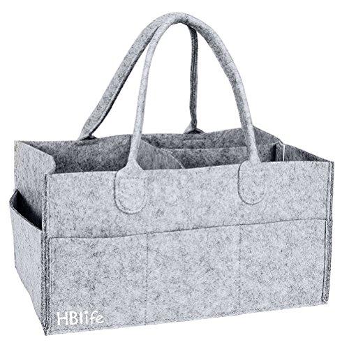 HBlife Panier de rangement pour bébé en Feutre sac de couche - lingettes - bijoux - jouets de bébé Gris