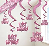 Unique Pink Glitz Swirl Decorations - Pack of 6