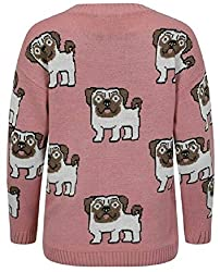 Online Fashion Store Pink Multi Pug Dog Print Long Sleeve Crew Neck Knitted Sweater Jumper Top