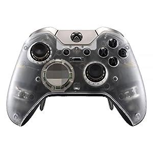 eXtremeRate Hülle für Xbox One Elite Controller, Case Gehäuse Hülle Cover Oberschale Skin Schale Ersatzteile mit Thumbstick-Akzent-Ringen für Xbox One Elite Controller