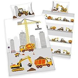 3 tlg. Baby Bettwäsche Wende Motiv Baufahrzeuge renforcé 100x135 cm + 40x60 cm + 1 Spannbettlaken in weiß 70x140 cm