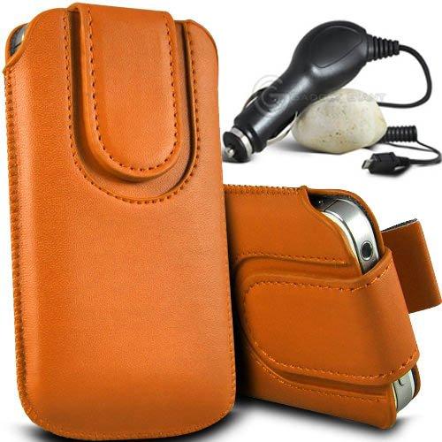 Brun/Brown - HTC Desire 320 Housse et étui de protection en cuir PU de qualité supérieure à cordon avec fermeture par bouton magnétique et stylet tactile pour par Gadget Giant® Orange & Car Charger