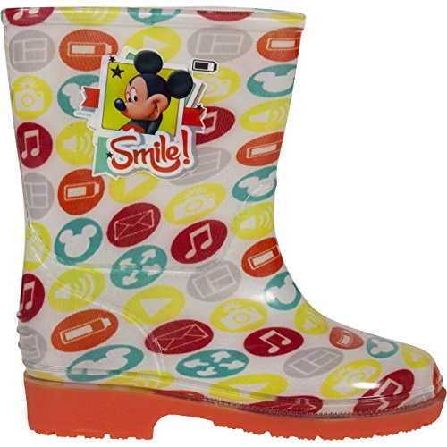 Disney Minnie Mouse/Mickey Mouse Kids Character LED Light Up Rubber Wellington Rain Boots for Girls/Boys Slip-on Waterproof Welly Gumboots Pink/Orange Junior Sizes 5-13 UK Child Toddlers Children