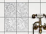 creatisto Bad-Folie Fliesen Zum Aufkleben   Klebe-Fliesenaufkleber Küchenfliesen Wanddeko   20x25 cm Muster Ornament Flower Lines 2-4 Stück