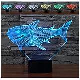 WAOBE Kreative Shark 3D Wirkung LED Illusion Lampen, 7 Farbe Blinkende Kunst Skulptur Lichter Schlafzimmer Schreibtisch Tisch Nachtlicht Super Geschenke
