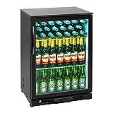 Royal Catering RCGK-138C Minibar Kühlschrank Getränkekühlschrank Flaschenkühlschrank mit Glastür (138 L, 2–10 °C, abschließbare Tür mit Doppelverglasung, LED Beleuchtung, Schwarz)