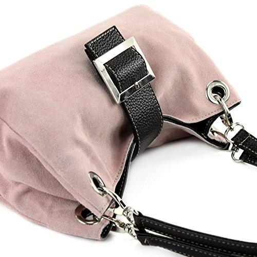 modamoda de - ital. Damentasche Handtasche Tragetasche Henkeltasche Wildleder Klein TL02 Rosabeige