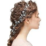 Braut Kopfschmuck Hochzeit Haarband und Stirnband mit Kristall Perle Mädchen Lange Glänzende Haarranke
