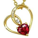 MARENJA Cristal-Collier Femme en Coeur-Cristal Rouge-Gravé «Je t'aime»-Plaqué Or-Bijoux Fantaisie-44+5cm