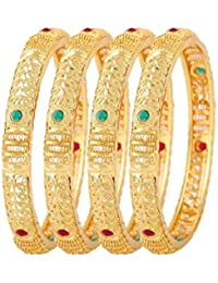 Zeneme Fashion Jewellery Traditional Gold Plated Bracelet Bangles Set Of 4 For Girls And Women