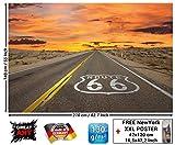 Papel pintado fotográfico de la Route 66 - Papel pintado fotográfico que muestra la autoví a americana - Póster XXL decoración mural de la marca by GREAT ART (210 x 140 cm)