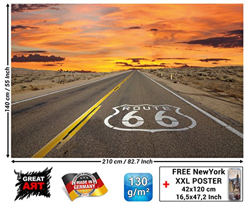 GREAT ART Fototapete - Route 66 - Wandbild Dekoration USA Landschaft Travel Highway Panorama Sonnenuntergang Amerika Wanddekoration Foto-Tapete Wandtapete Fotoposter Wanddeko (210 x 140 cm) (Fotos Amerika)