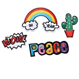 #7: Hexawata Mixed Rainbow Cactus Wow Embroidered Sew Iron On Applique Patch for DIY Crafts Pack of 4pcs