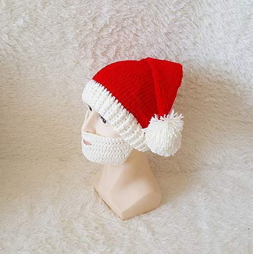 Fuxitoggo Weihnachtsmütze Herbst und Winter Western Halloween Hut häkeln bärtigen Hut Reine handgeflochtene Linie Hut (Farbe : B, Größe : Adult one Size)