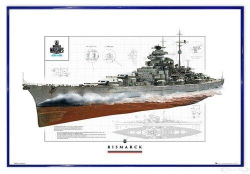 Close Up World of Warships Poster Schlachtschiff Bismarck (63,5x94 cm) gerahmt in: Rahmen blau