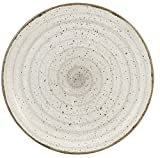 H&H Giotto Servierplatte, handbemalt, Weiß/Grau