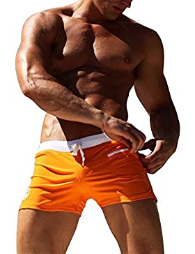 Eastlion Männer Niedrige Taille Sexy Schwimmen Hose mit Tasche Heiße Quelle Strand Badehose