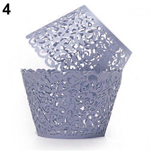 (Baogu 50 Stück Cupcake Wrappers Muffins Backförmchen für Weihnachten Hochzeit Geburtstag (Navy))